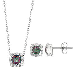 Sterling Silver Mystic Fire Topaz & Cubic Zirconia Cushion Halo Pendant & Stud Earring Set