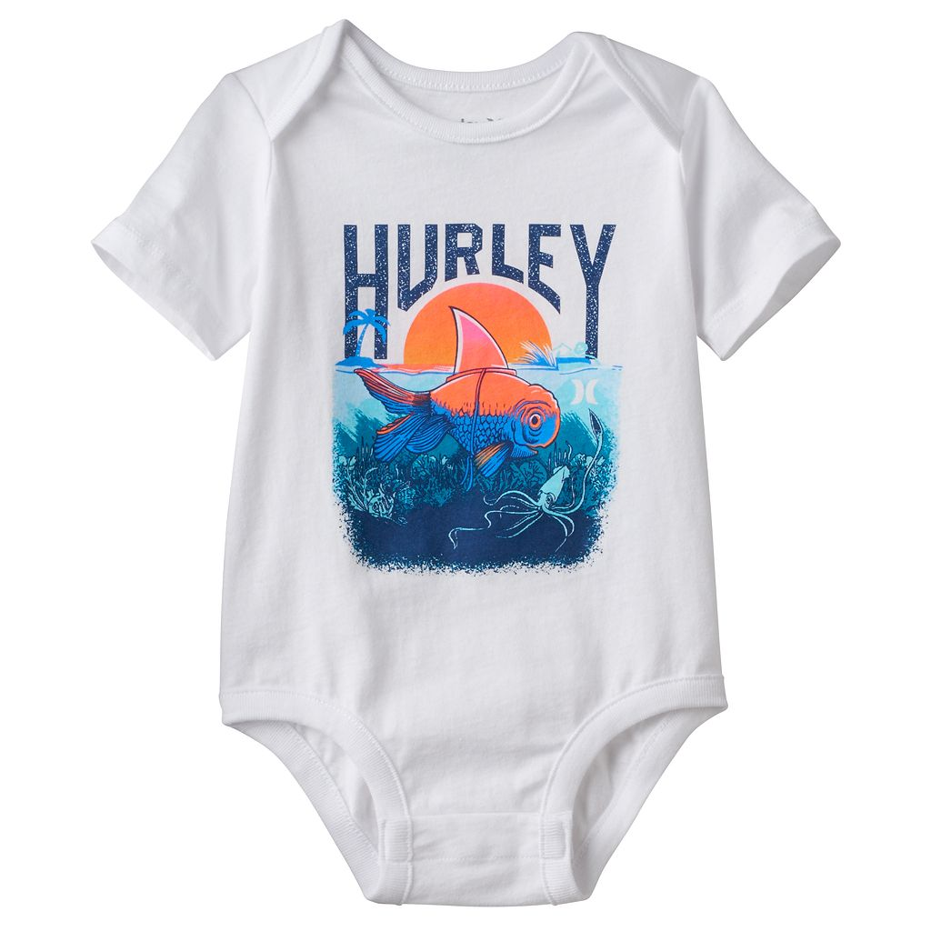 Baby Boy Hurley Fish Graphic Bodysuit