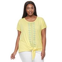 Plus Size Kate and Sam Embroidered Tie-Front Tee