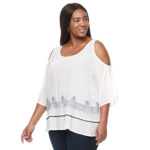 Plus Size Kate and Sam Embroidered Gauze Top