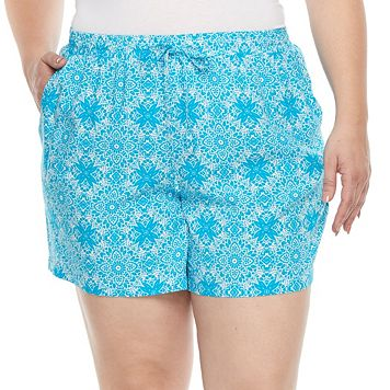 Plus Size Kate and Sam Printed Challis Shorts