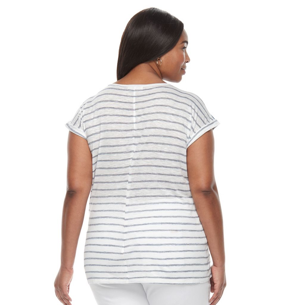 Plus Size Kate and Sam Face Frame Stripe Print Tee
