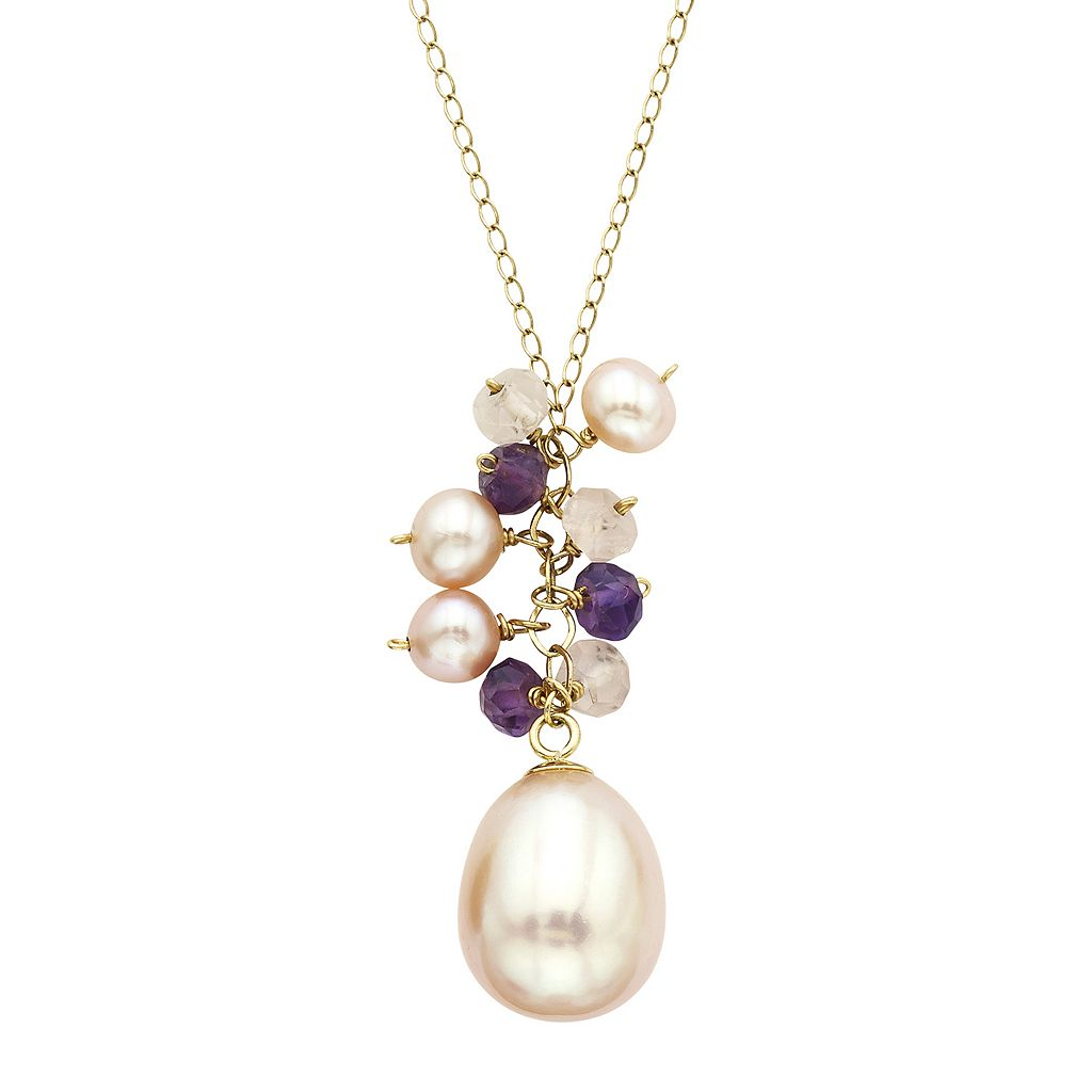 14k Gold Gemstone & Freshwater Cultured Pearl Necklace