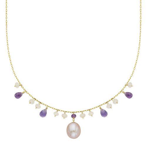 14k Gold Gemstone Briolette & Freshwater Cultured Pearl Necklace