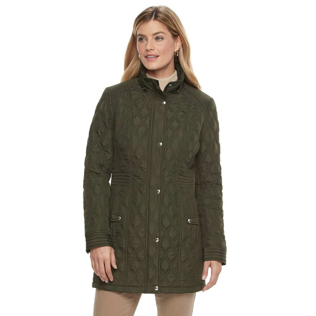 Women's Weathercast Hooded Quilted Rain Jacket