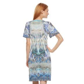 Women's World Unity Print Cold-Shoulder Shift Dress