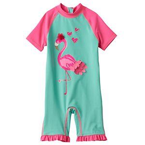 Baby Girl Wippette Flamingo Rashguard Wet Suit