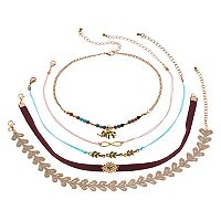 Mudd® Elephant, Infinity & Leaf Choker Necklace Set