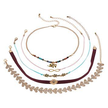 Mudd® Elephant, Infinity & Leaf Choker Necklace Set