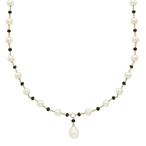 14k Gold Black Spinel & Freshwater Cultured Pearl Beaded Y Necklace