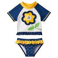 Baby Girl Wippette Flower Rashguard & Bottoms Swimsuit Set