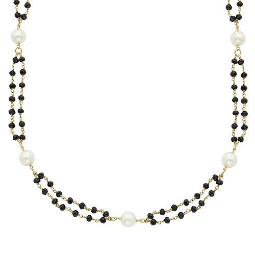14k Gold Black Spinel & Freshwater Cultured Pearl Double Strand Beaded Necklace