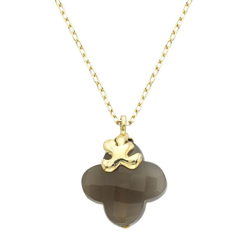 14k Gold Moonstone Four-Leaf Clover Pendant Necklace
