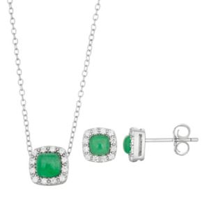 Sterling Silver Simulated Jade & Cubic Zirconia Cushion Halo Pendant & Stud Earring Set