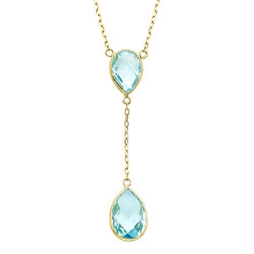 14k Gold Blue Topaz Y Necklace