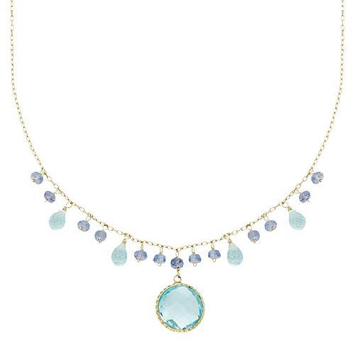 14k Gold Blue Topaz & Tanzanite Briolette Necklace