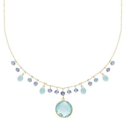 14k Gold Blue Topaz & Tanzanite Briolette Necklace