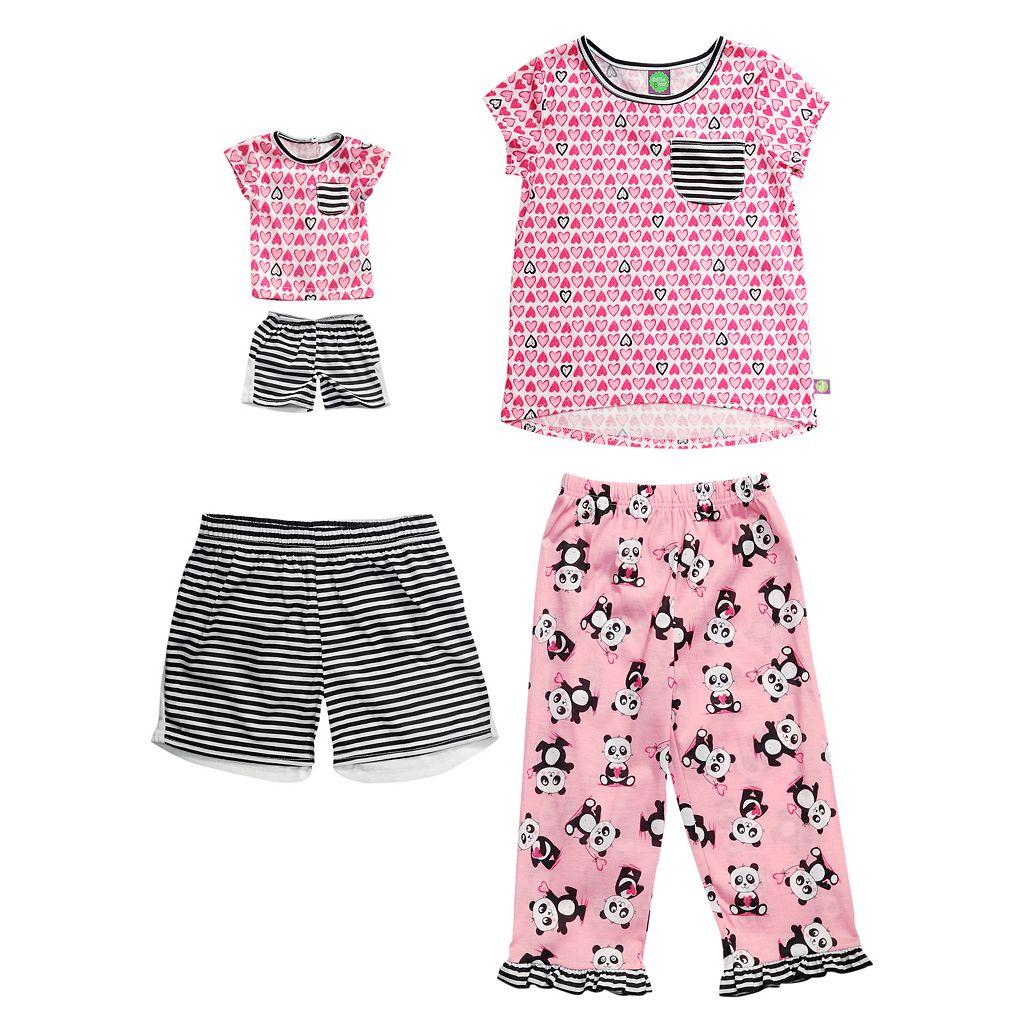 Girls 4-14 Dollie & Me Panda Pajama Set