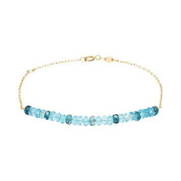 14k Gold Sky Blue Topaz & London Blue Topaz Beaded Bracelet