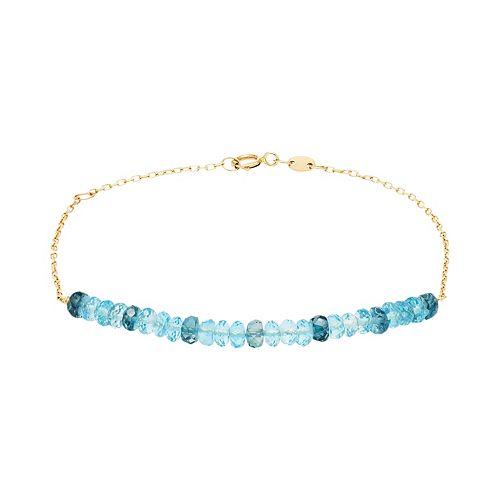 14k Gold Sky Blue Topaz & London Blue Topaz Beaded Bracelet