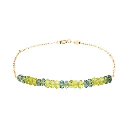 14k Gold Green Sapphire & Peridot Beaded Bracelet