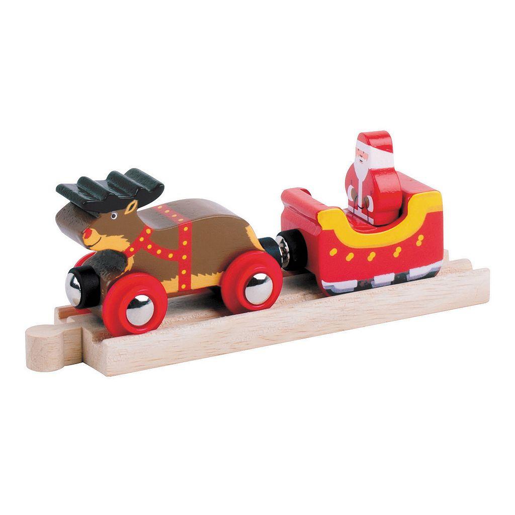 BigJigs Toys Wooden Santa Sleigh with Reindeer