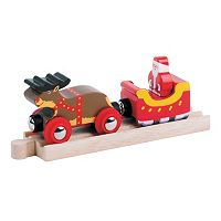 BigJigs Toys Wooden Santa Sleigh with Reindeer