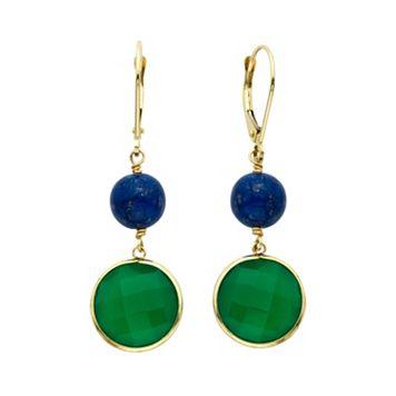 14k Gold Green Onyx & Lapis Lazuli Beaded Drop Earrings