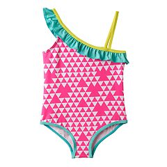 Toddler Girl Pink Platinum Triangle Print Asymmetrical One-Piece Swimsuit