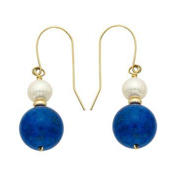 14k Gold Lapis Lazuli & Freshwater Cultured Pearl Drop Earrings