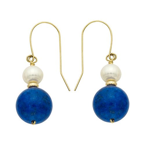 14k Gold Lapis Lazuli & Freshwater Cultured Pearl Drop Earrings