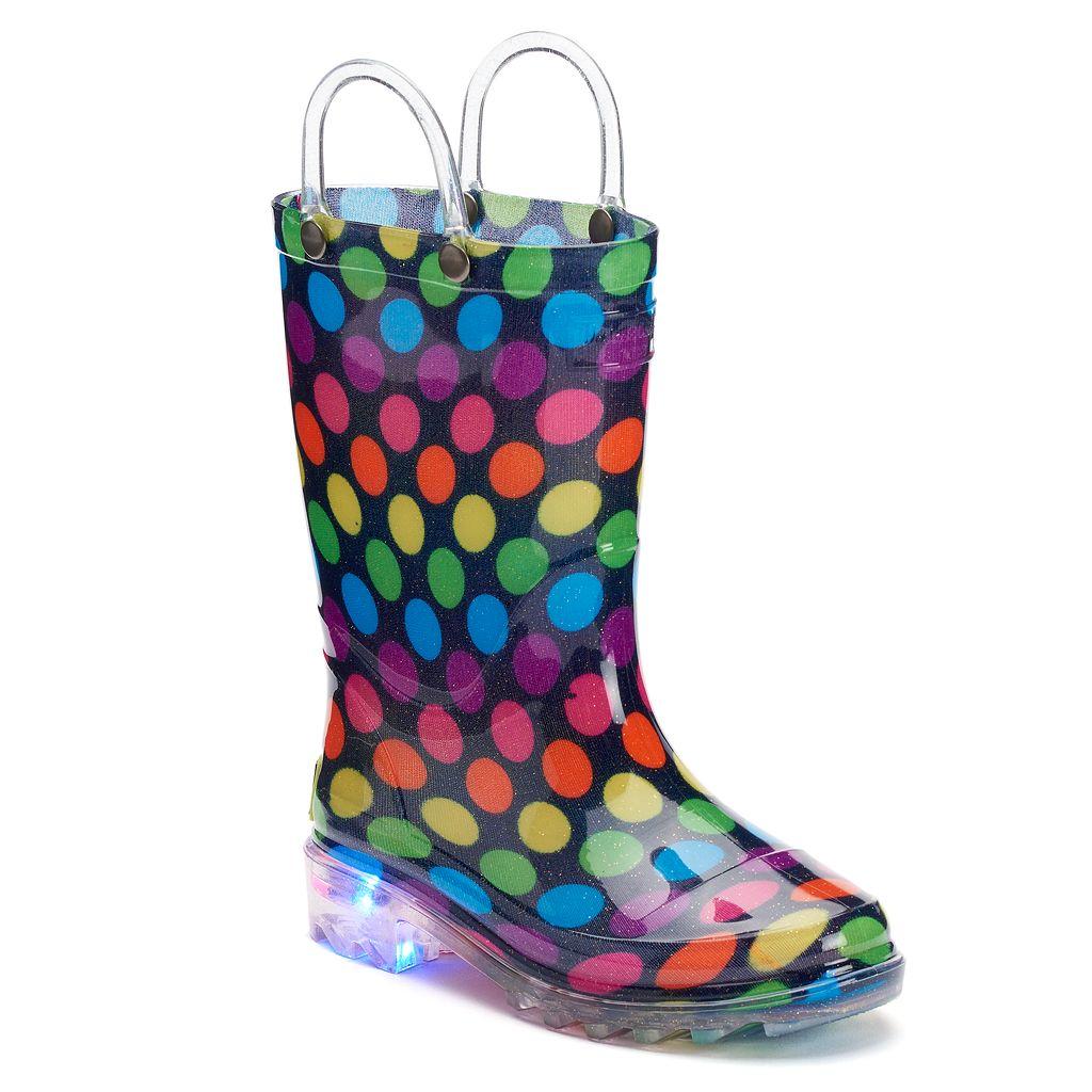 Western Chief Darling Dot Toddler Girls' Light-Up Waterproof Rain Boots