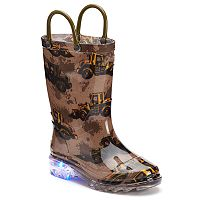 Western Chief Buzy Bulldozer Toddler Boys' Light-Up Waterproof Rain Boots