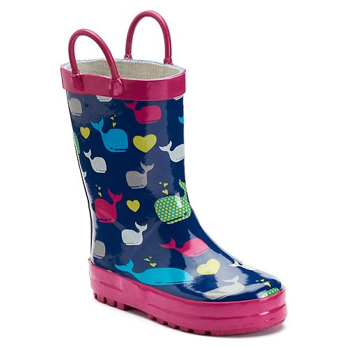 Western Chief Whales Toddler Girls' Waterproof Rain Boots