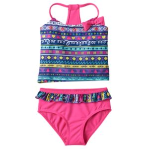Toddler Girl Geometric Print Tankini & Ruffled Bottoms Swimsuit Set