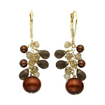 14k Gold Gemstone Briolette & Freshwater Cultured Pearl Drop Earrings
