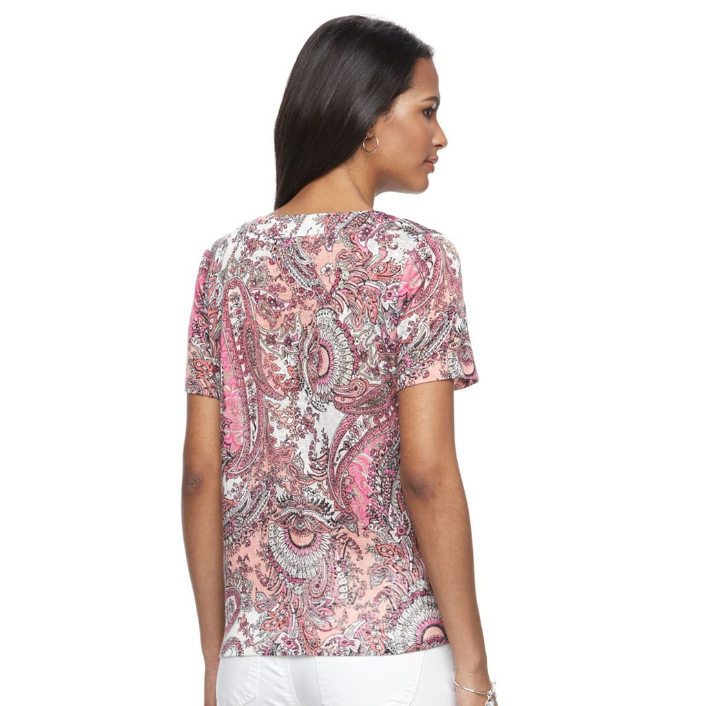 Women's Napa Valley Paisley V-Neck Tee