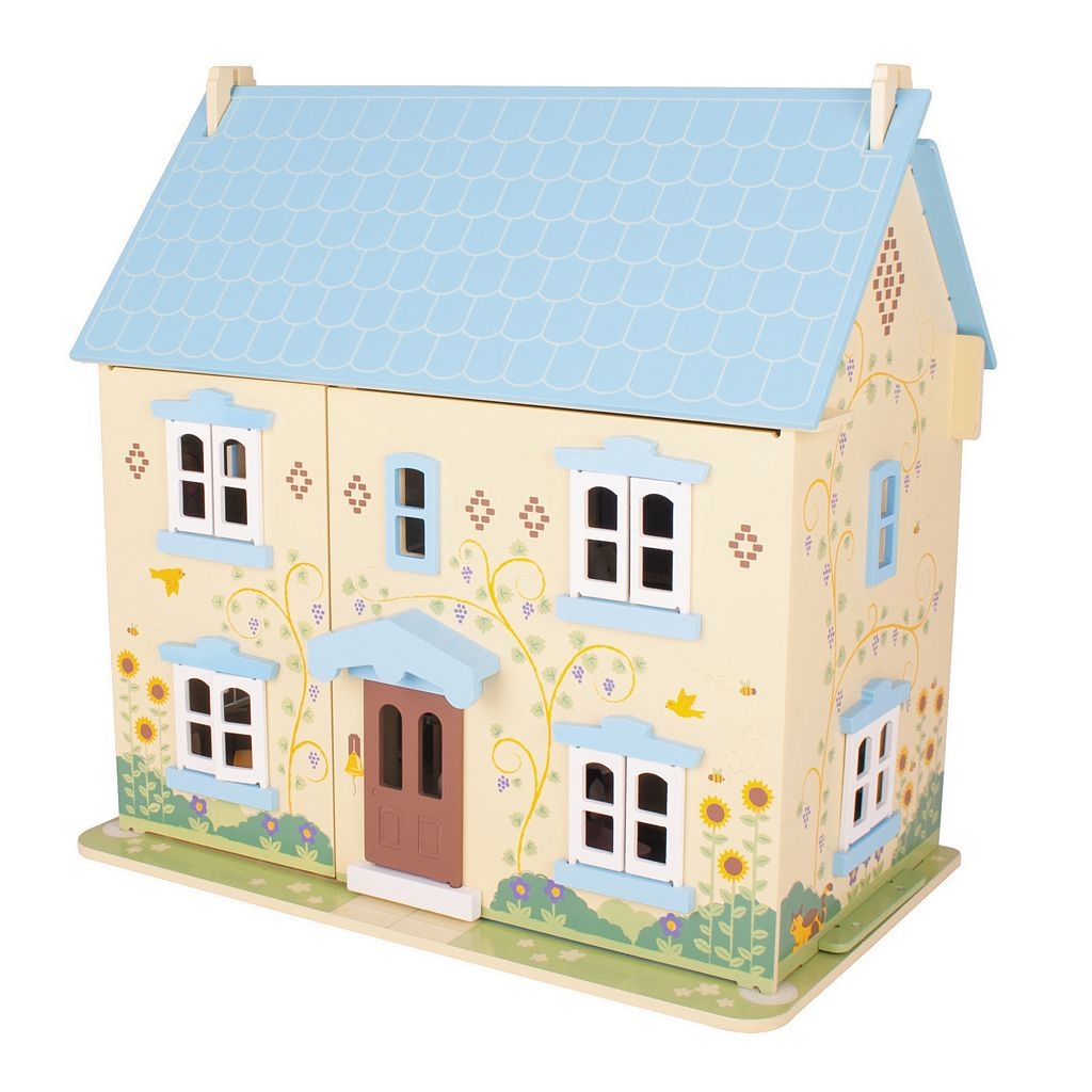 BigJigs Toys Sunflower Cottage Heritage Wooden Dollhouse Playset