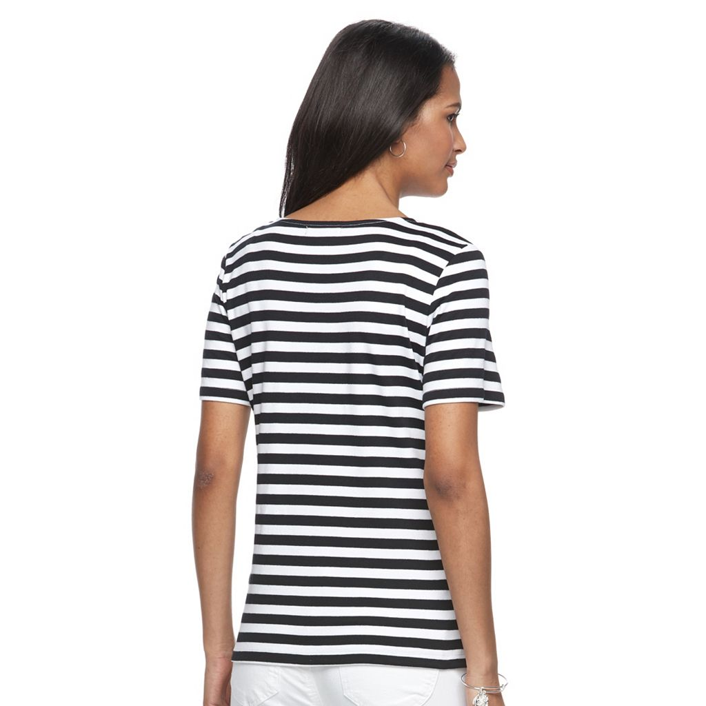 Women's Napa Valley Striped Embellished Tee