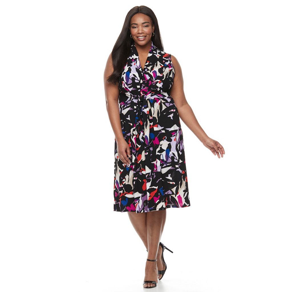 Plus Size Dana Buchman Tie-Front Crepe Dress