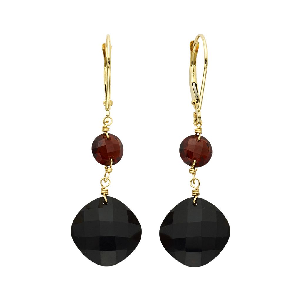 14k Gold Onyx & Garnet Drop Earrings
