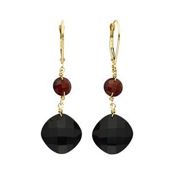 14k Gold Onyx & Garnet Drop Earrings