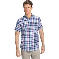 Men's IZOD Dockside Classic-Fit Plaid Chambray Woven Button-Down Shirt