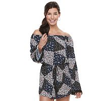 Juniors' Rewind Bell Sleeve Off-the-Shoulder Romper