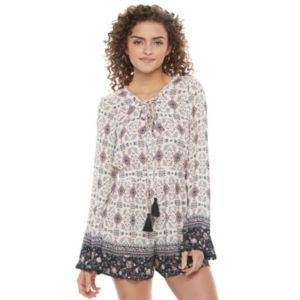 Juniors' Rewind Print Bell Sleeve Lace-Up Romper