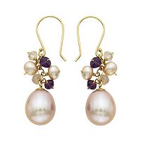 14k Gold Gemstone & Freshwater Cultured Pearl Drop Earrings