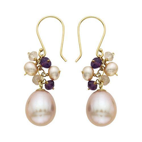 14k Gold Gemstone & Freshwater Cultured Pearl Drop Earrings