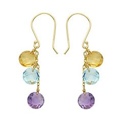 14k Gold Gemstone Drop Earrings