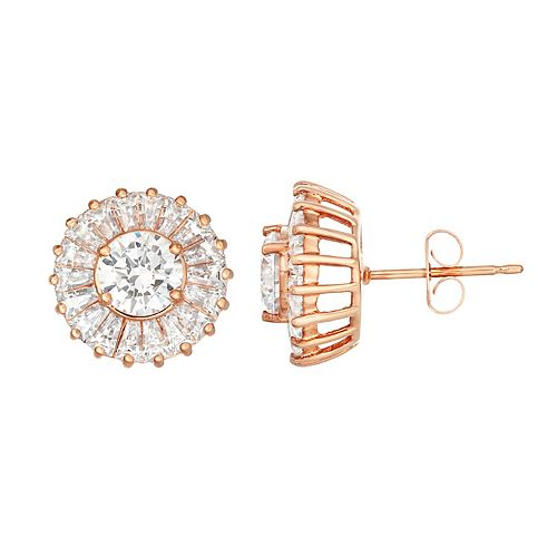 14k Rose Gold Over Silver Lab-Created White Sapphire Halo Stud Earrings