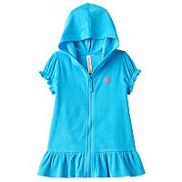Toddler Girl Pink Platinum Hooded French Terry Ruffled Cover Up